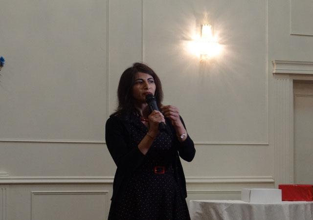 MPP Deepika Demerla speaking at Robin Singh's felicitation