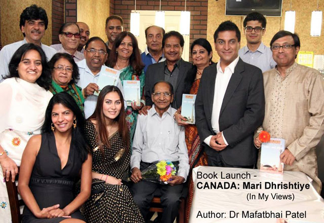 Dr Mafatbhai Patel posing with those who gathered for the launch of the book