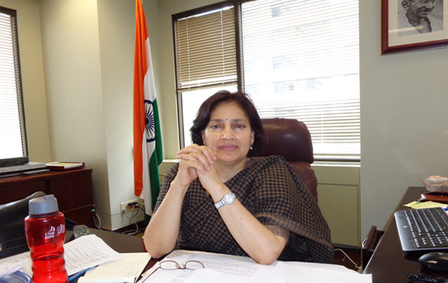 Indian Consul General Preeti Saran in her Toronto office