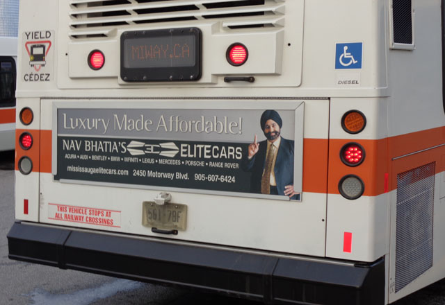 Nav Bhatia in a city bus ad