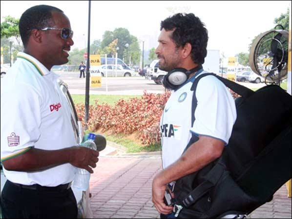 Sachin seen with legendary West Indian batsman Brian Lara