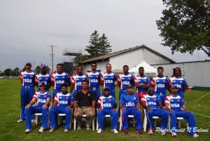 The US team, with coach Robin Singh (sitting third from right)