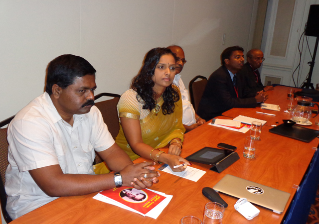 Tamil-origin NDP MP Rathika Sitsabaiesan (second from left) at the convention