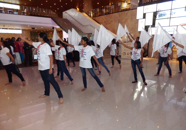 A girls' performance inside the Sony Centre.