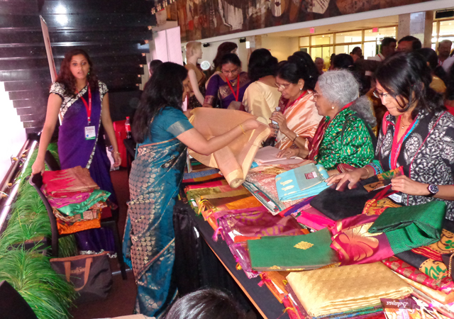 A counter selling Kanchipuram sarees.