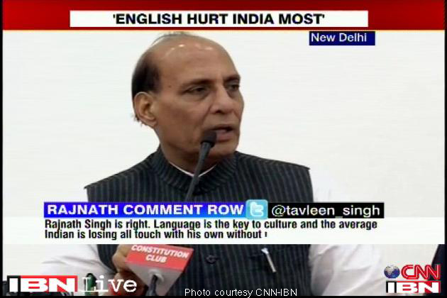 rajnath singh wants English thrown out of India