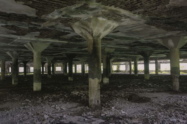 The inside of the abandoned Shakti Mills in south Mumbai.