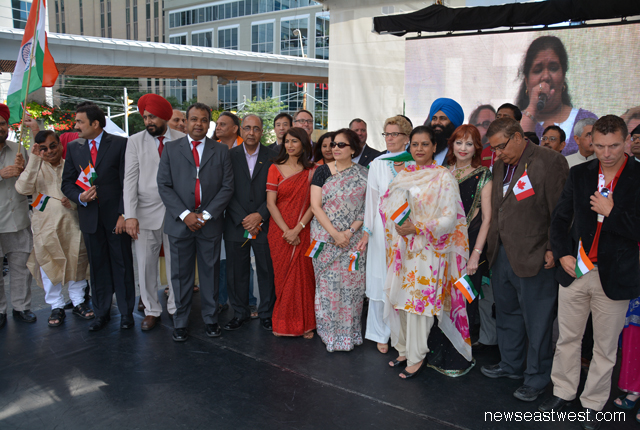 India Consul General Preeti Saran and Panorama India Chair Jibanjjit (fifth from left) welcome the guests for India Day in Toronto on August 10.