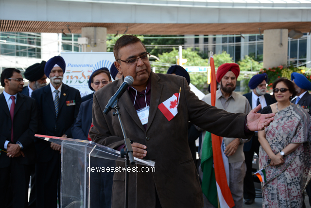 Seniormost Indo-Canadian MP and parliamentary secretary Deepak Obhrai speaking at India Day celebrations in Toronto.