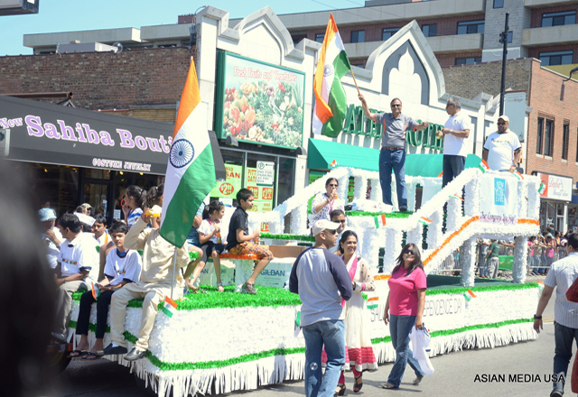 A float in the India Day parade in Chicago.