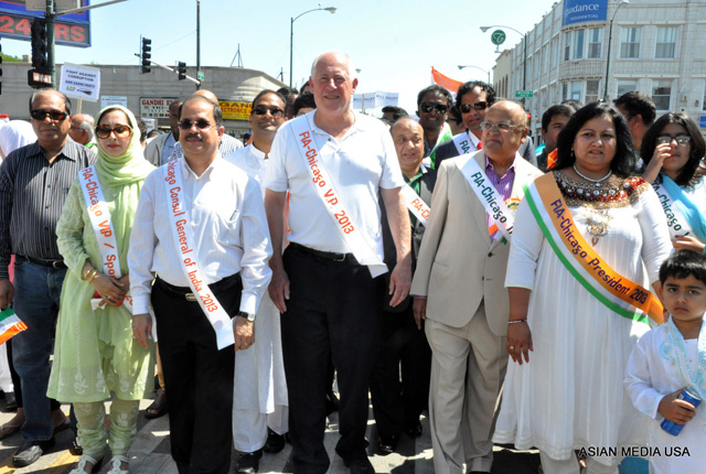 Illinois Governor Pat Quinn walks in the India Day parade in Chicago on Aug 17