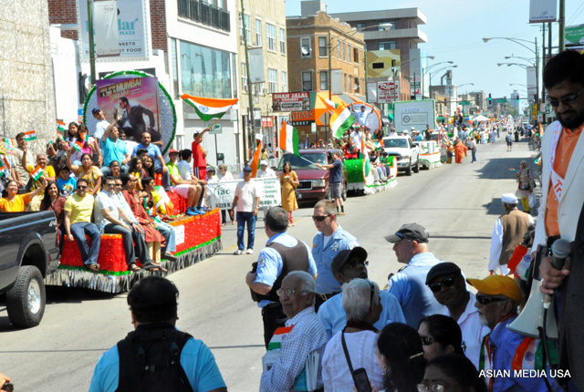 Floats in the India Day parade in Chicago on Aug 17.