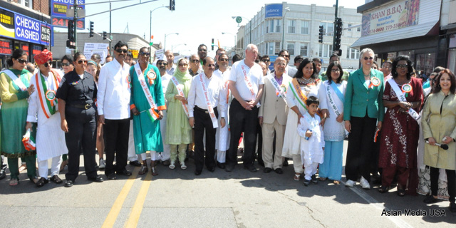 Illinois Governor Pat Quinn  with participants in the India Day parade in Chicago on Aug 17.