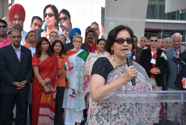 Indian consul general Preeti Saran speaking at India Day celebrations in Toronto on Saturday, August 10.