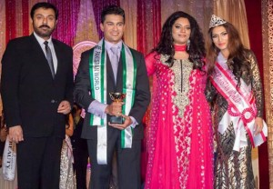 Miss Pakistan World Shanzay Hayat and Mr Pakistan with Naumaan Ijaz (extreme left) and pageant founder Sonia Ahmed (second from right). Photo by Shahid Tasneem.