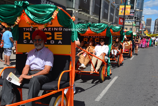 Rickshaws as part of India Day parade in Toronto on August 10