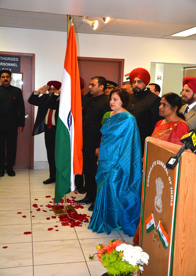 Unfurling of the Tricolour and singing of the national anthem at the Indian Consulate in Toronto on Independence Day.