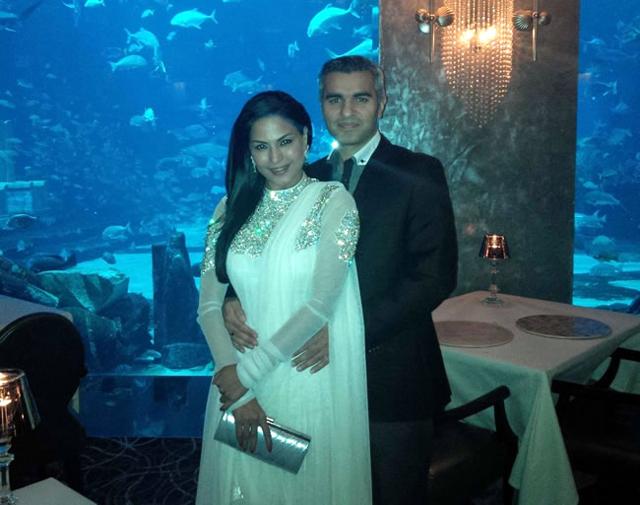 Veena Malik with her new beau Shaikh-Umar-Farukh-Zahoor