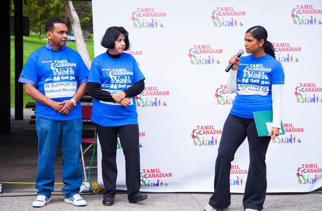 Rathika Sitsabaiesan, Canada's first MP of Tamil origin, speaking at the walk-a-thon