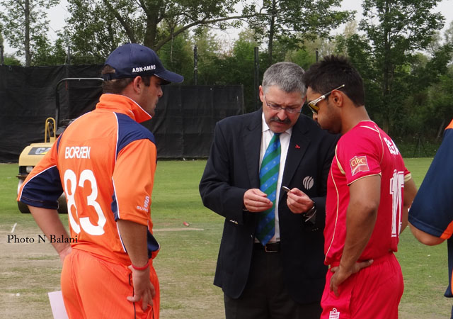 Skippers Bagai and Borren going for the toss won by the Netherlands.