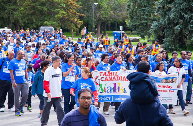 Participants in the Tamil Canadian Congress walk-a-thon.