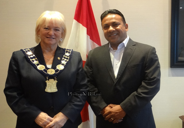 Brampton Mayor Susan Fennell with Mr. Roy Singh at her office