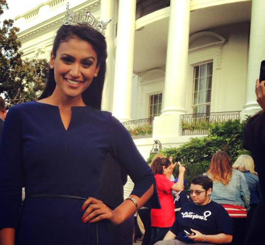 Miss America Nina Davuluri after meeting President Obama at the White House on Oct 16
