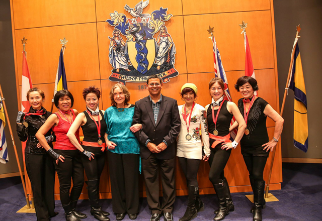 (L to R): WIN Distinguished Dancer Award winners - Marie Liu, Aida Bhargava, Irene Shum, Lilija Valis, Ashok Bhargava, Vivian Lau, Vivian Chan and Linda Dee
