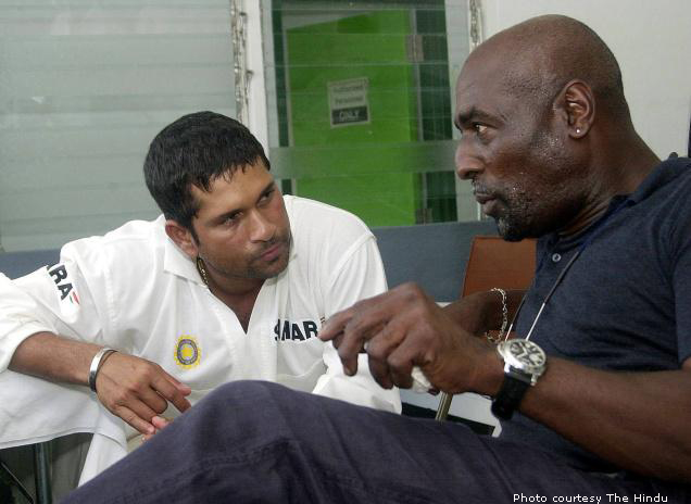 Sachin listening carefully to Sir Viv Richards