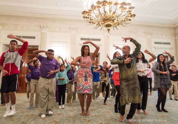 First Lady Michelle Obama does a Bollywood number during Diwali celebrations at the White House copy