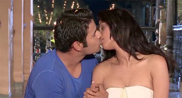 Mallika Sherawat kissing on The Bachelorette India show