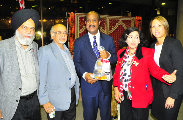 Diwali sweets for Montgomery County Executive Ike Leggett (centre).