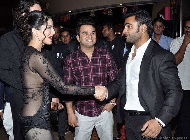 Sunny Leone shaking hand with Jackpot co-star Sachiin Joshi