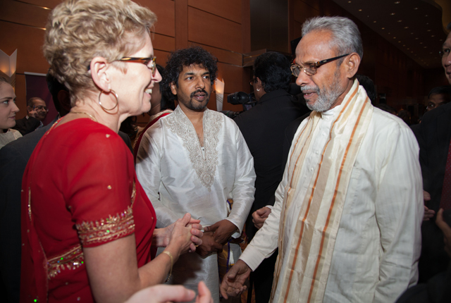 C.V.K. Sivagnanam, Chairman of the Northern Provincial Council in Sri Lanka, with Premier Kathleen Wynne.