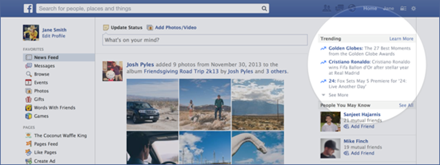 Facebook also introduces trending topics