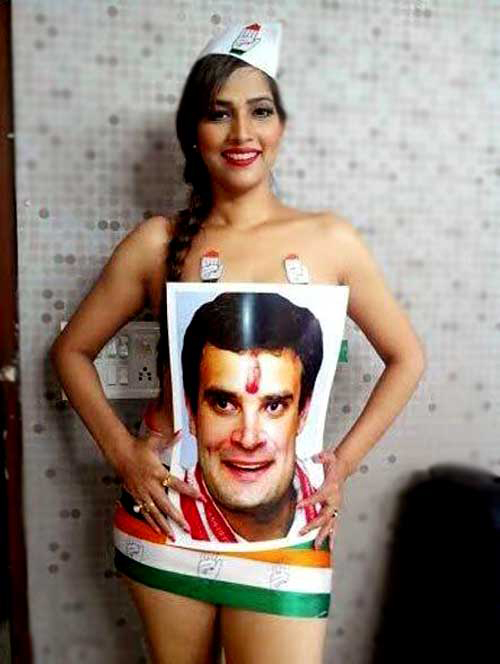 Tanisha Singh poses nude only with a poster of Rahul Gandhi.