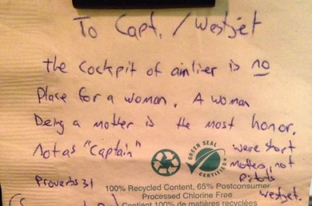 This is what the man wrote about the WestJet female pilot.