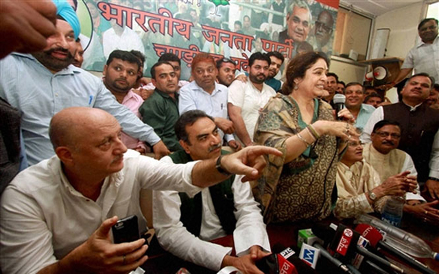 Anupam Kher fights for wife Kirron Kher in poll campaign