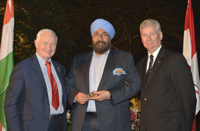 Baljit Chadha seen with Governor General  David Johnston and Canadian high commissioner Stewart Beck.
