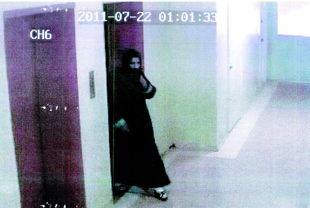 Pakistani man Rustam wearing a burka entering his estranged wife's apartment in Toronto on July 22, 2011, to kill her for demanding divorce