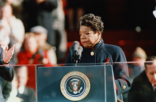 Maya Angelou at President Clinton's inauguration in 1993.