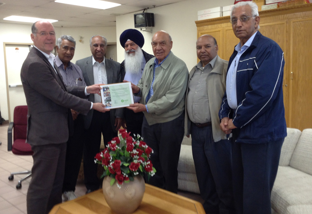 India Cultural Centre of Canada gets plaque from OXFAM Canada
