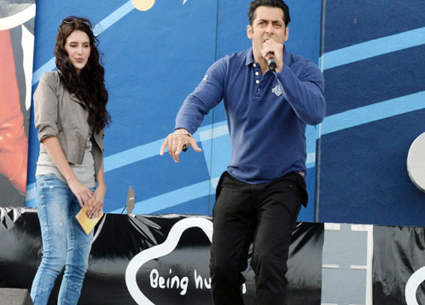 Salman introduces Isabel Kaif as Little Kat as he launches his film Dr Cabbie in Toronto