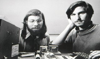 Steve Wozniak (left) with Steve Jobs
