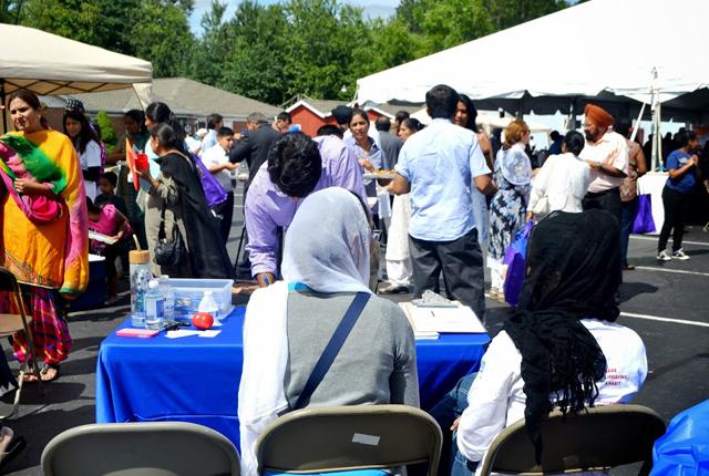 On a sunny dya, the first health fair by Guru Nanak Foundation of America was a big draw.