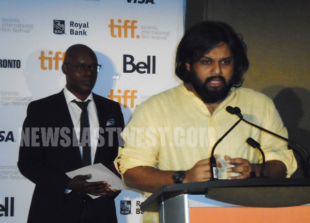 Margarita With a Straw co-producer Nilesh Maniyar speaks at the TIFF awards ceremony in Toronto on September 14.