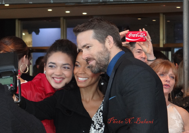 Girls giggle for selfies with Ryan Reynolds at Canada's Walk of Fame Ceremony