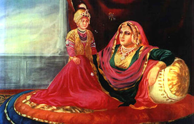 Young Duleep Singh seen with his mother Rani Jinda