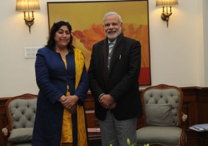 Gurinder Chadha with Prime Minister Narendra Modi