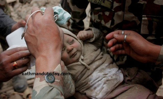 Nepal baby being rescued